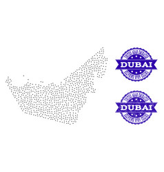 dotted map of united arab emirates and distress vector image