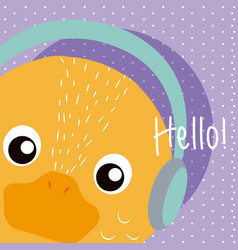 Duck cute animal cartoon vector