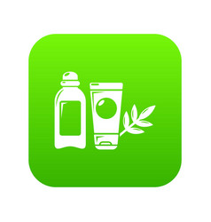 eco natural cream icon green vector image