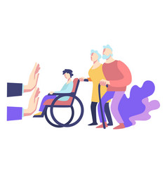 Elderly and handicapped people and social refusal vector