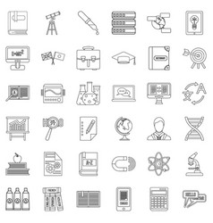 English icons set outline style vector