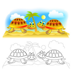 Fantasy couple cute turtles in desert colorful vector