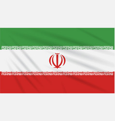 Flag iran swaying in the wind realistic vector