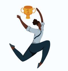 flat a running african business woman vector image