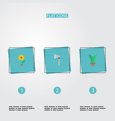 Flat icons axe flowerpot plant and other vector