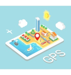 Flat map mobile gps navigation infographic 3d vector
