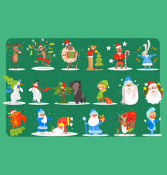 Flat set of funny christmas characters deer vector