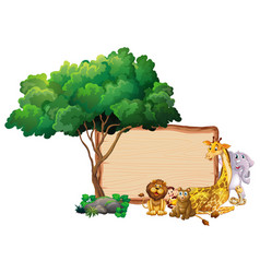 frame design with many animals around border vector image