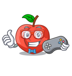 Gamer cartoon fresh sweet nectarines in the garden vector