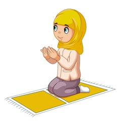 Girl cartoon praying vector