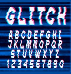 Glitch distorted font letters and numbers vector