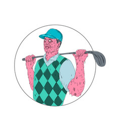 Golfer golf club circle grime art vector