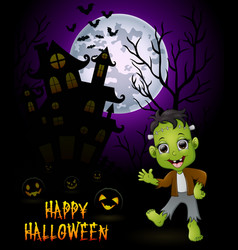 Halloween costumes frankenstein with pumpkin on ha vector