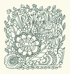 hand drawn doodle garden with flowers and insects vector image