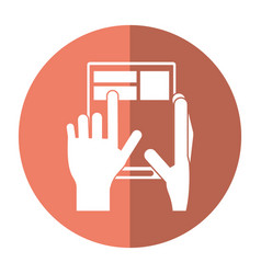Hand touch tablet web page button shadow vector