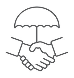 handshake thin line icon privacy and trust vector image