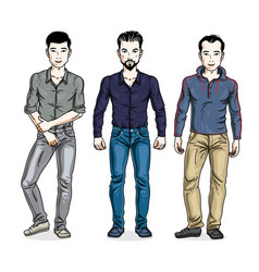 handsome men standing wearing fashionable casual vector image