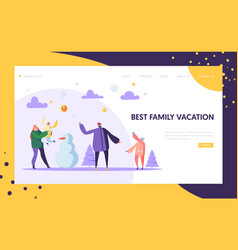 happy family characters playing snowball on winter vector image