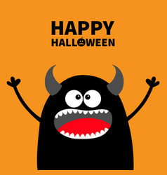 Happy halloween cute black silhouette monster vector
