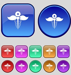 Health care icon sign A set of twelve vintage vector