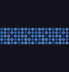 Indigo blue heart polka dot seamless border vector