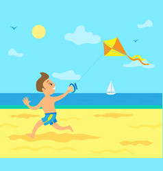 kid running along coast with wind kite in hand vector image