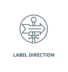 label direction line icon linear concept vector image