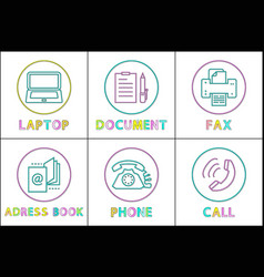 laptop and document icons set vector image
