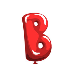 Letter b in shape glossy red balloon funny vector