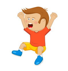 Little boy with raised up cheering and jumping vector