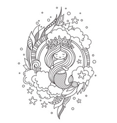 Little mermaid with wreath of starfish surrounded vector