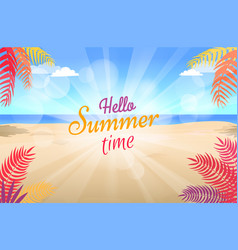 lovely summer promotional poster with green palms vector image