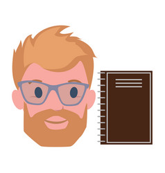 male blond character beard in transparent glasses vector image