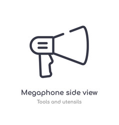 Megaphone side view outline icon isolated line vector