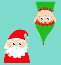 merry christmas new year santa claus elf face vector image