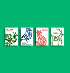 merry christmas watercolor folk animal card set vector image