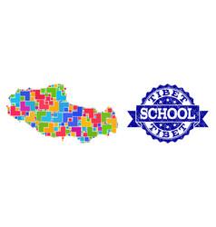 Mosaic map tibet and textured school stamp vector
