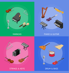 musical insrtuments banner card set vector image