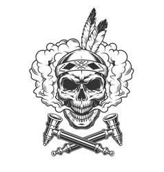 Native indian warrior skull with feathers vector