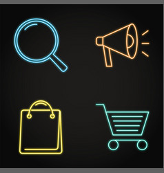Neon promotion and purchase icons set in line vector
