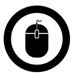 Pc mouse icon black color in circle vector
