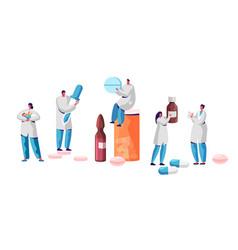 Pharmacist character medicine drug store set vector