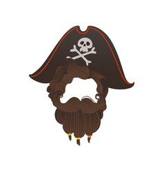 pirate beard photo booth prop costume vector image