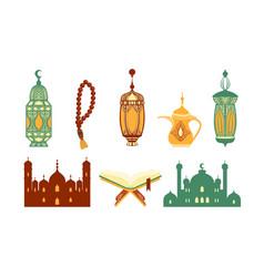 ramadan kareem symbols set islamic holy holiday vector image