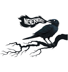 Raven on a tree in front moon vector