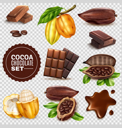 realistic cocoa transparent background set vector image