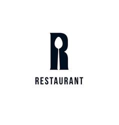 restaurant logo template black silhouette vector image