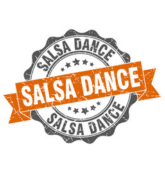 Salsa dance stamp sign seal vector