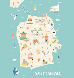 San francisco city map with landmarks vector