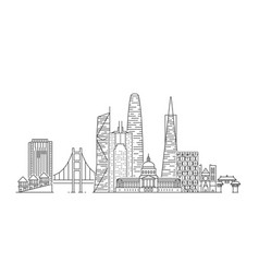 san francisco skyline usa vector image